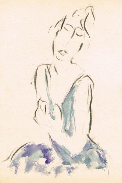 dame 2 blauwe jurk